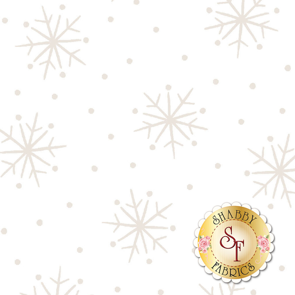 Pearlescent snowflakes and dots on a white background | Shabby Fabrics