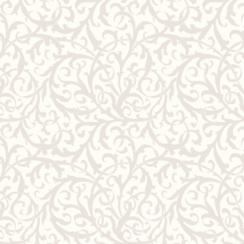 Pearlescent scrolls on a soft white background | Shabby Fabrics