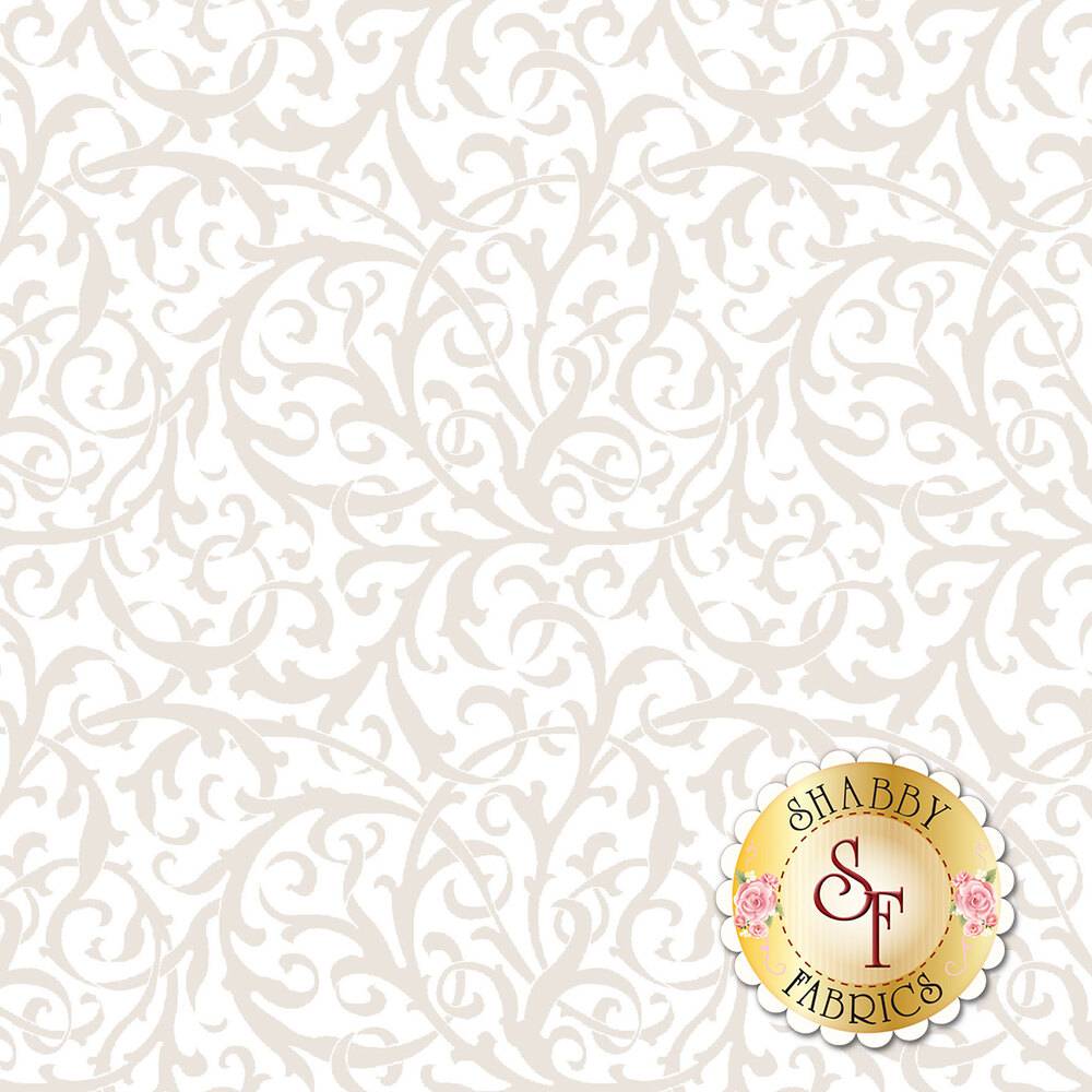 Pearlescent scrolls on a white background | Shabby Fabrics