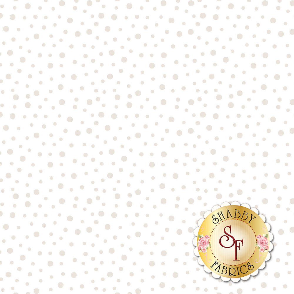 Pearlescent randomized dots on a white background   Shabby Fabrics