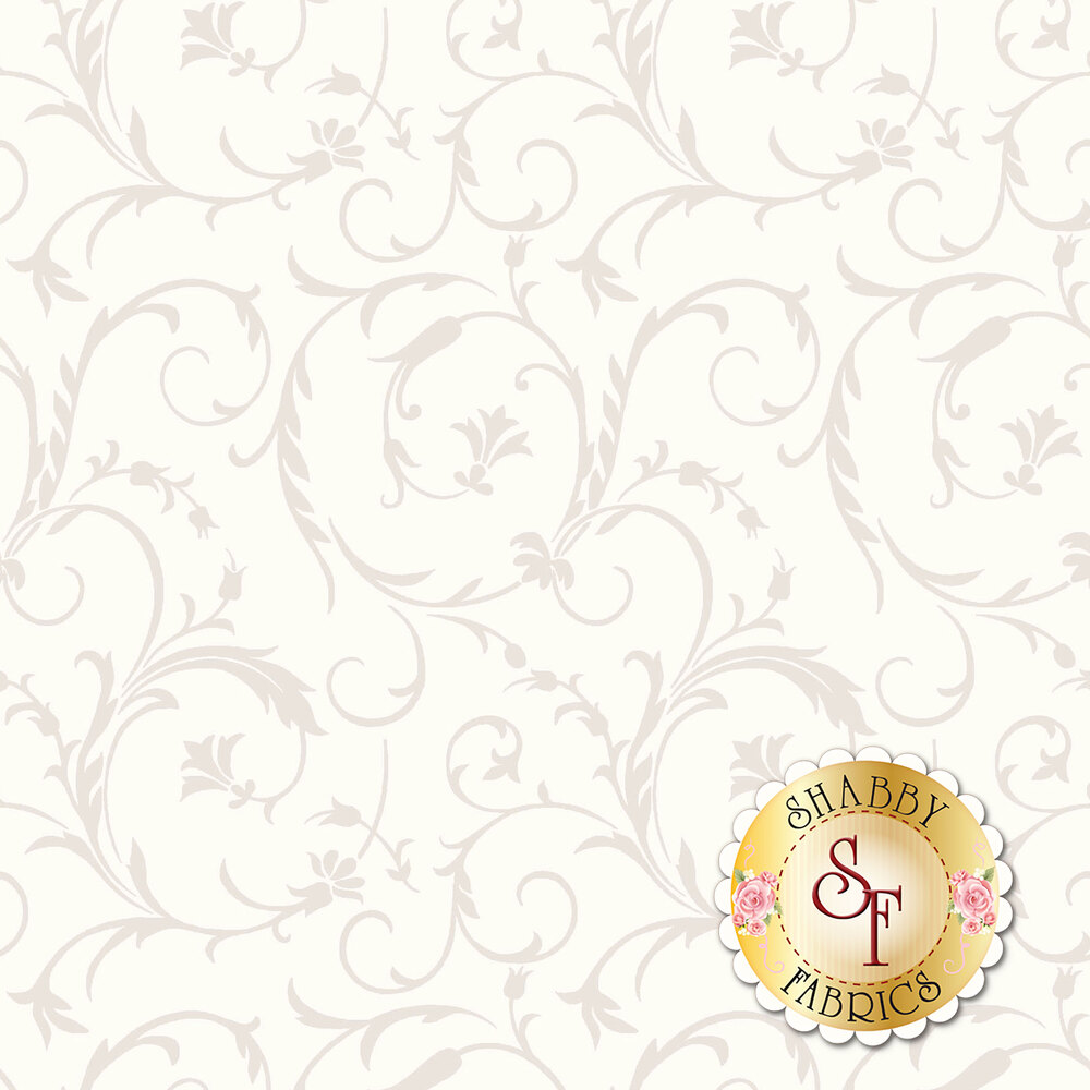 Pearlescent elegant scrolls on a soft white background | Shabby Fabrics