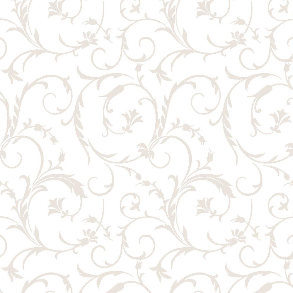 Pearlescent elegant scrolls on a white background | Shabby Fabrics