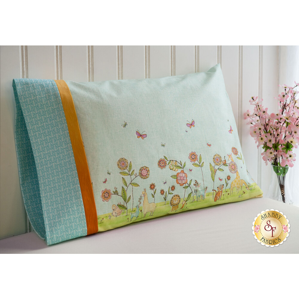 The adorable Hello... Big World Magic Pillowcase - Standard in the blue color variation