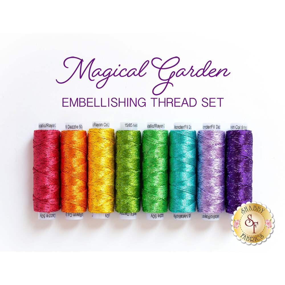 8pc embellishing thread set for Magical Garden Table Runner | Shabby Fabrics