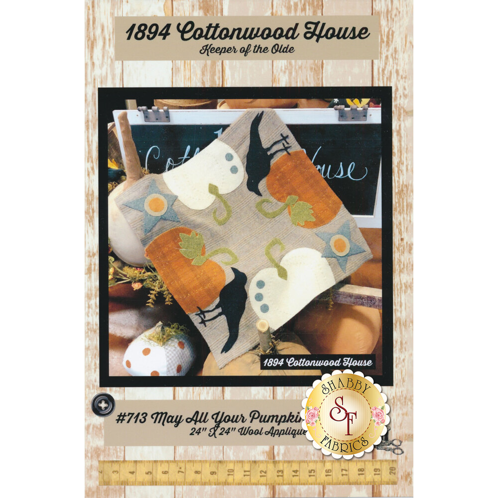 The front of the May All Your Pumpkins Be Plump pattern showing the finished mat | Shabby Fabrics