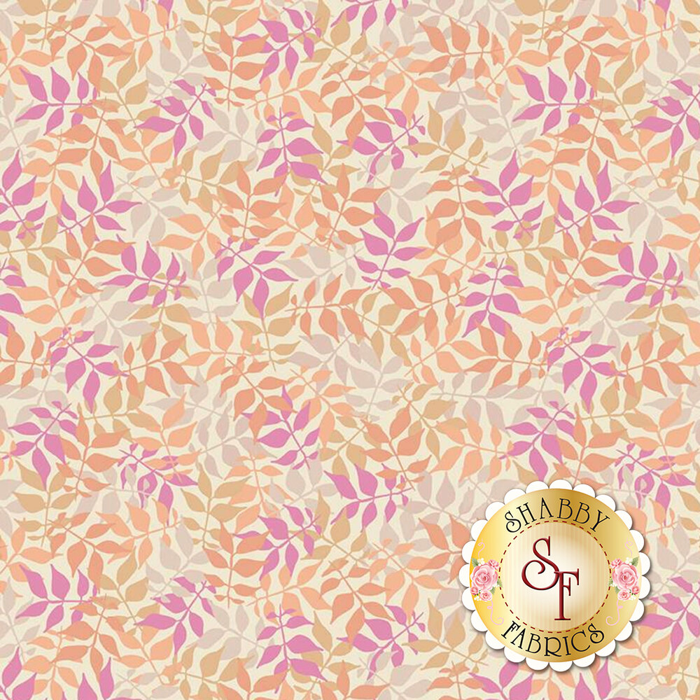 Orange and magenta toned leaves and vines  | Shabby Fabrics
