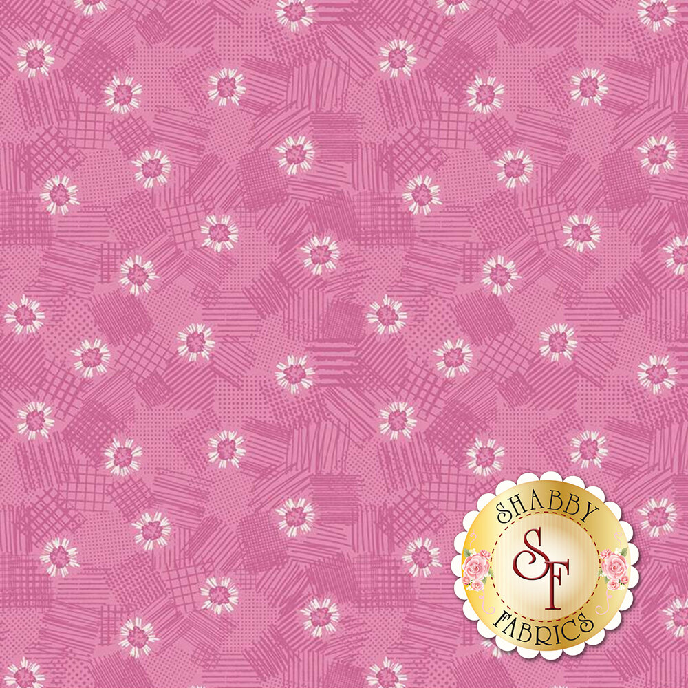 Pink tonal flowers on texture | Shabby Fabrics