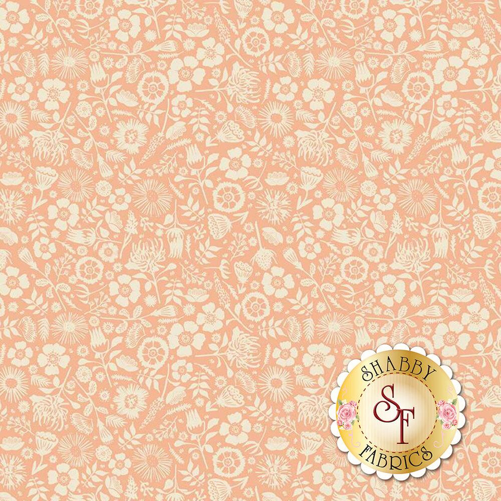 Cluster of flowers on peach   Shabby Fabrics