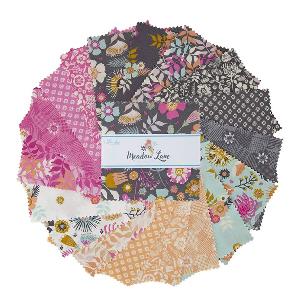 """A collage of fabrics included in the Meadow Lane 2-1/2"""" Strips 