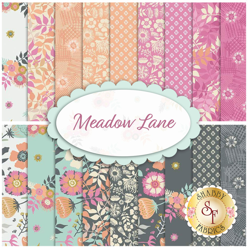 "A collage of fabrics included in the Meadow Lane 2-1/2"" Strips 