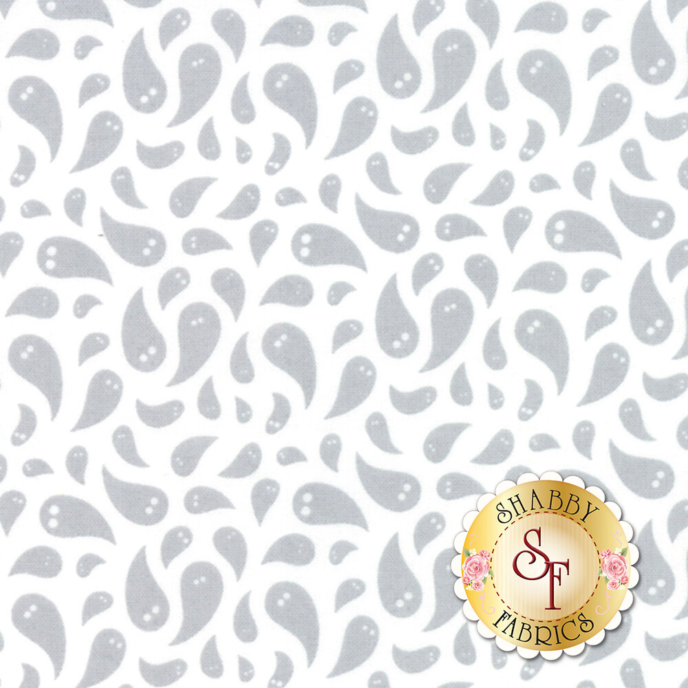Tossed grey ghosts on a white background | Shabby Fabrics