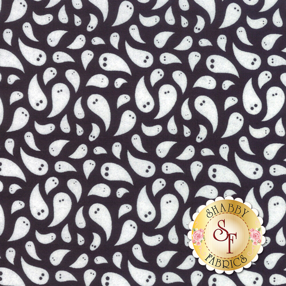 Teardrop shaped ghosts on a black background | Shabby Fabrics