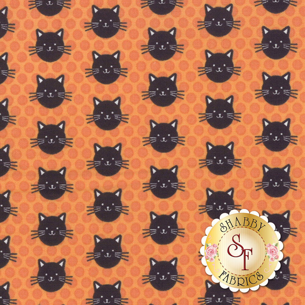 Black cats on a tonal orange polka dot background | Shabby Fabrics