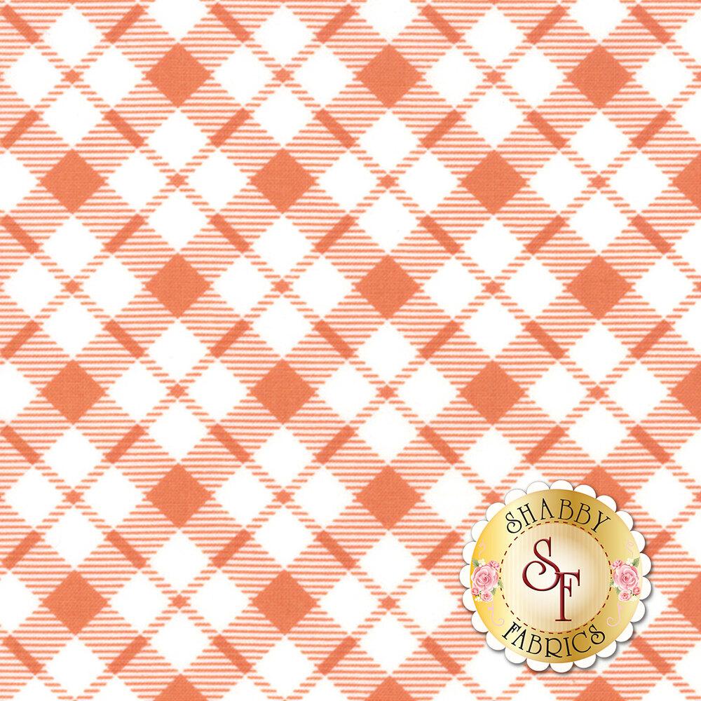 Orange and white plaid pattern | Shabby Fabrics