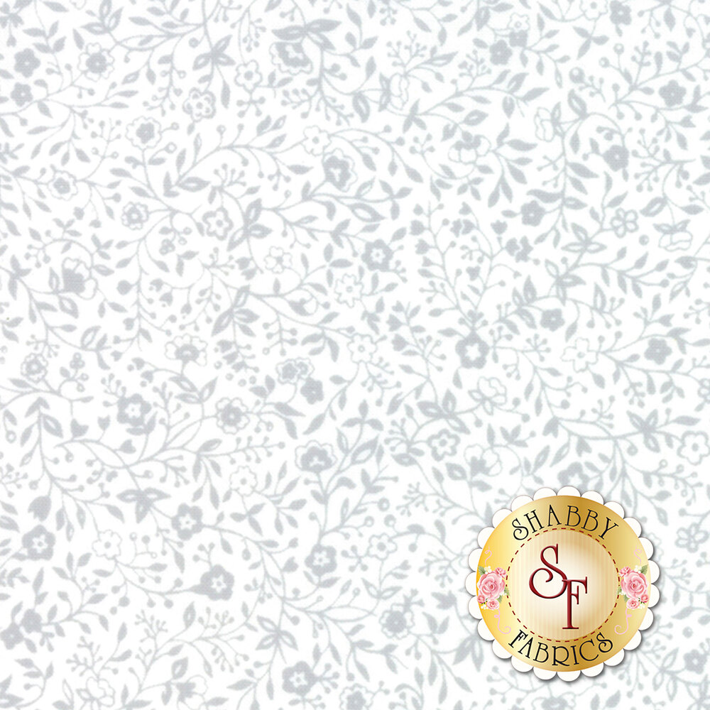 Light grey vines and flowers all over a white background | Shabby Fabrics