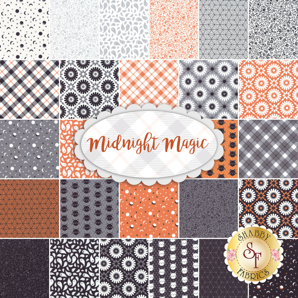 A collage of the 26 fabrics included in the Midnight Magic fabric collection | Shabby Fabrics