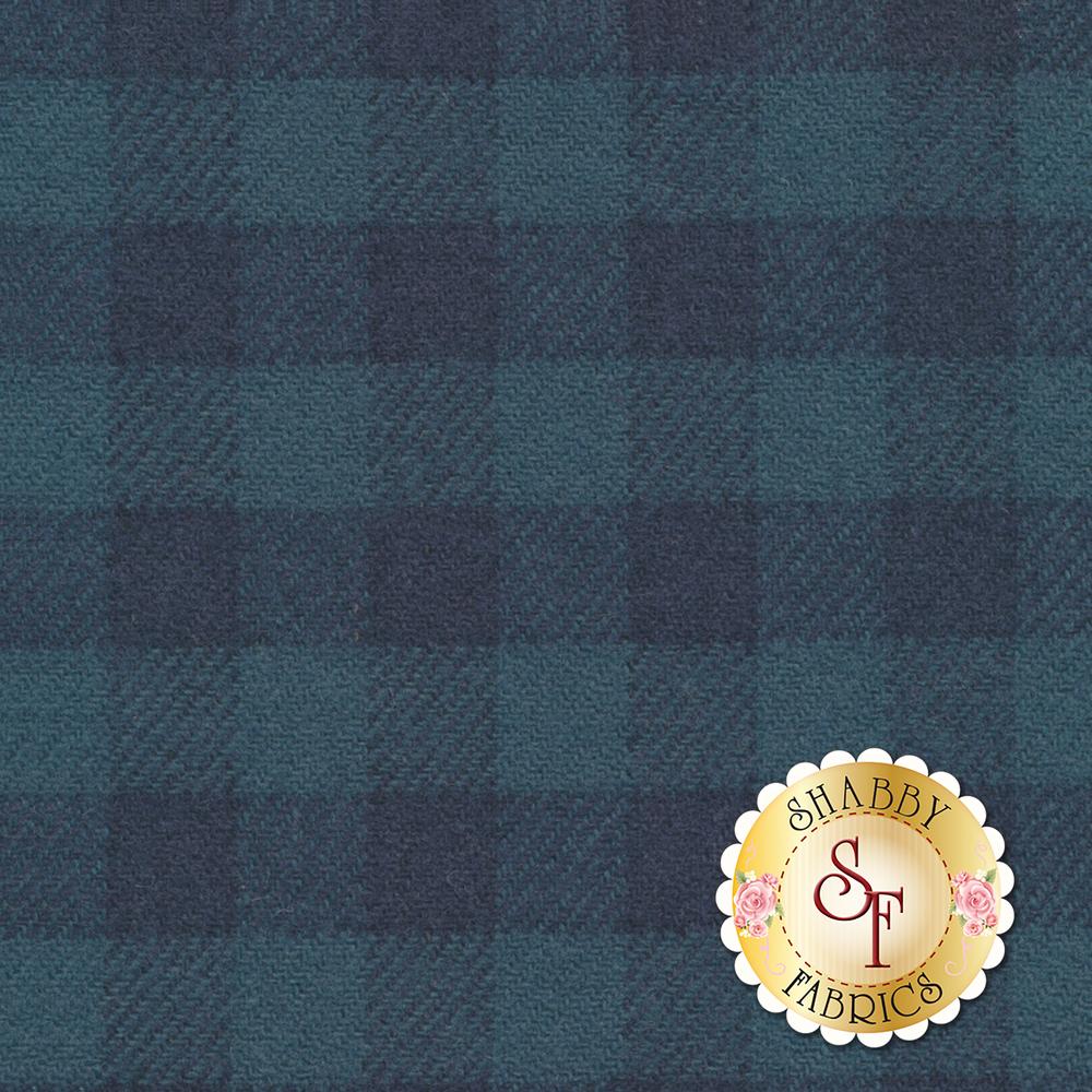 Tonal blue plaid wool | Shabby Fabrics