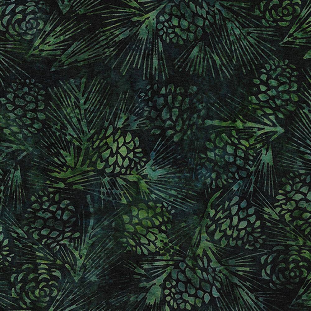 Tonal dark green pinecones