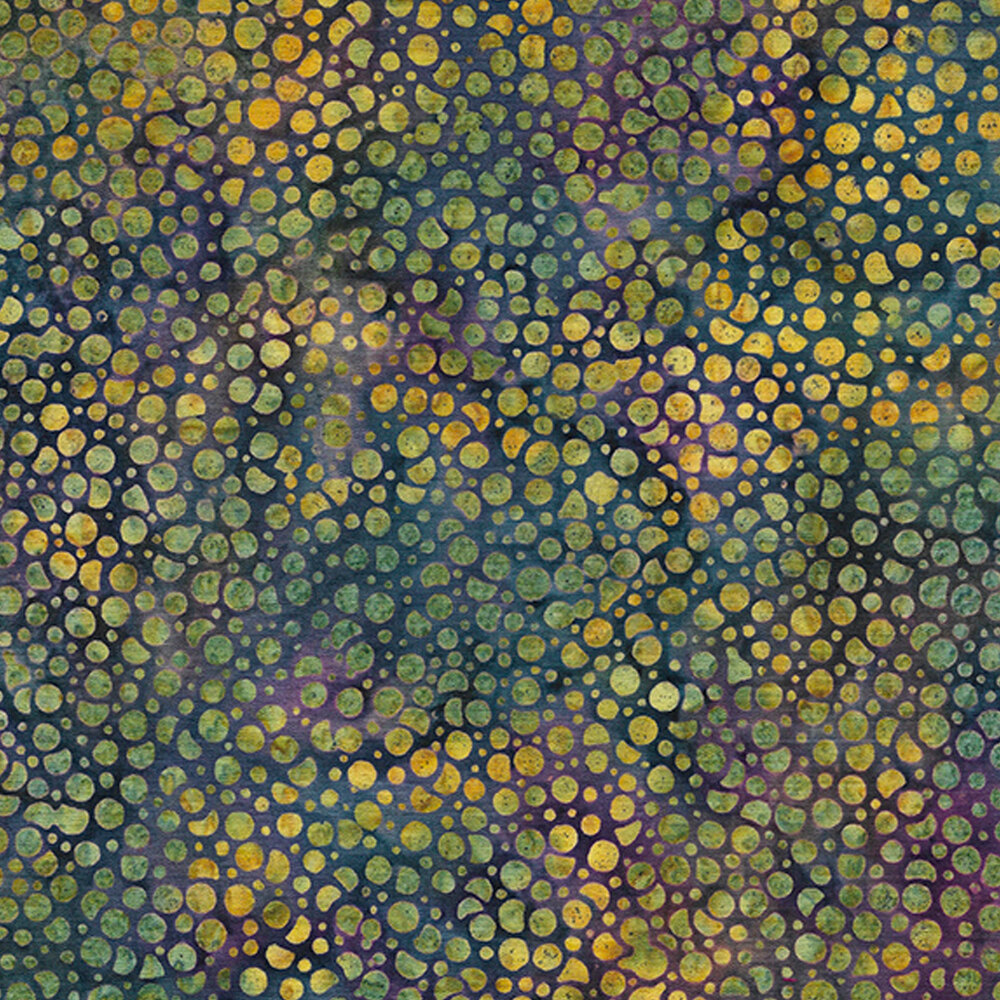 Mottled green and yellow berries on a mottled blue and purple background