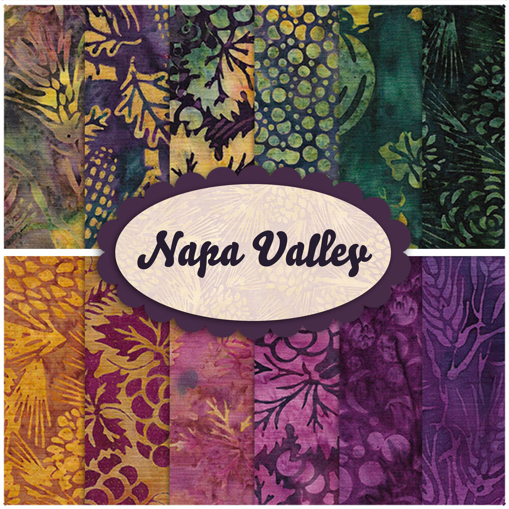 A collage of fabric included in the Napa Valley batik collection
