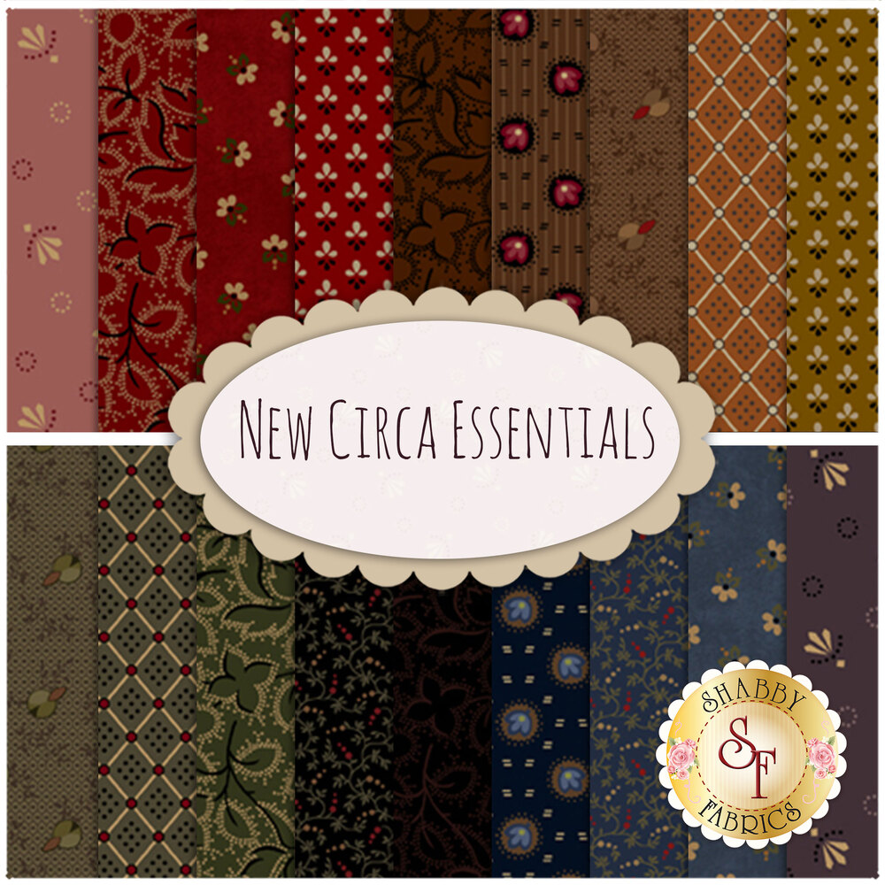 Collage of fabrics included in New Circa Essentials collection | Shabby Fabrics