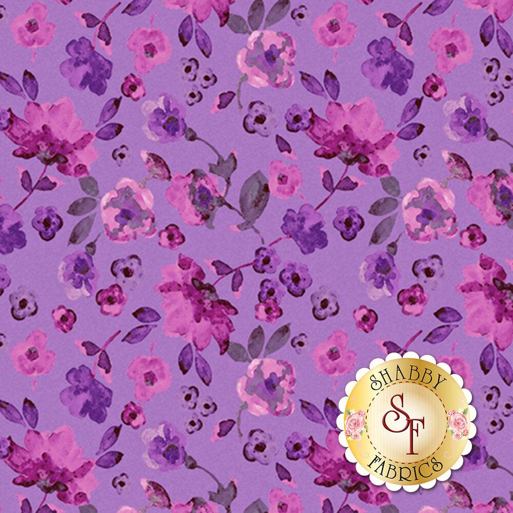 Purple flowers on vines all over purple   Shabby Fabrics