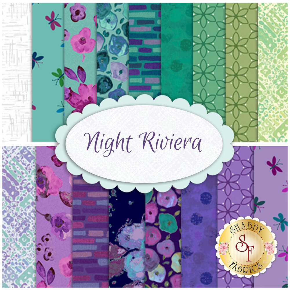Collage of fabrics included in Night Riviera collection | Shabby Fabrics