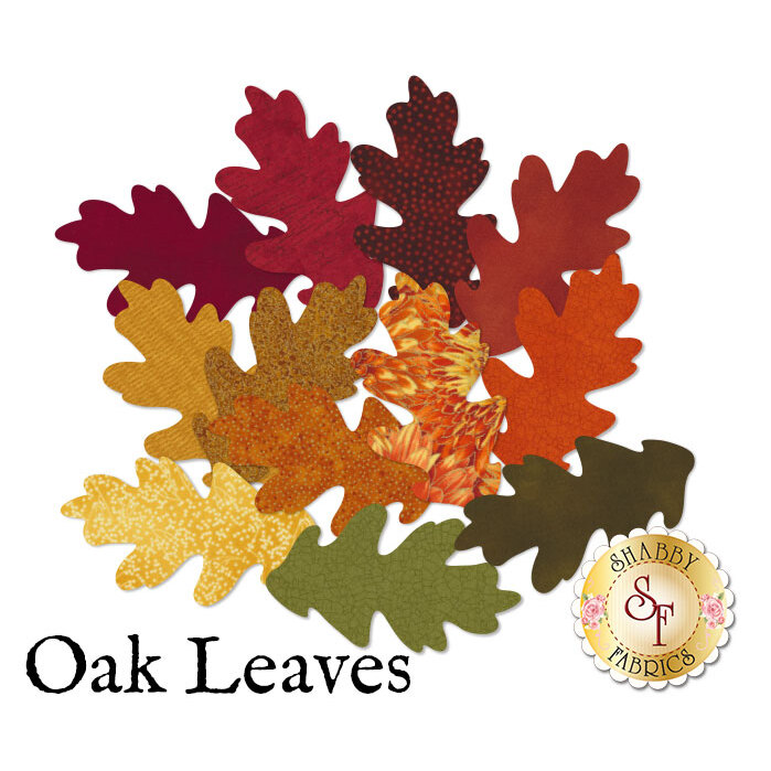 12 oak leaves in red, orange, yellow, and green in a variety of autumn prints.