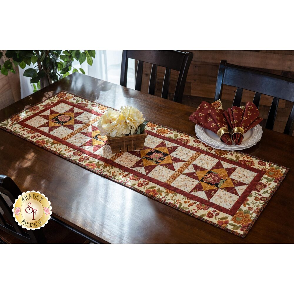 The beautiful Ohio Star Table Runner Kit made with the Tarrington collection | Shabby Fabrics