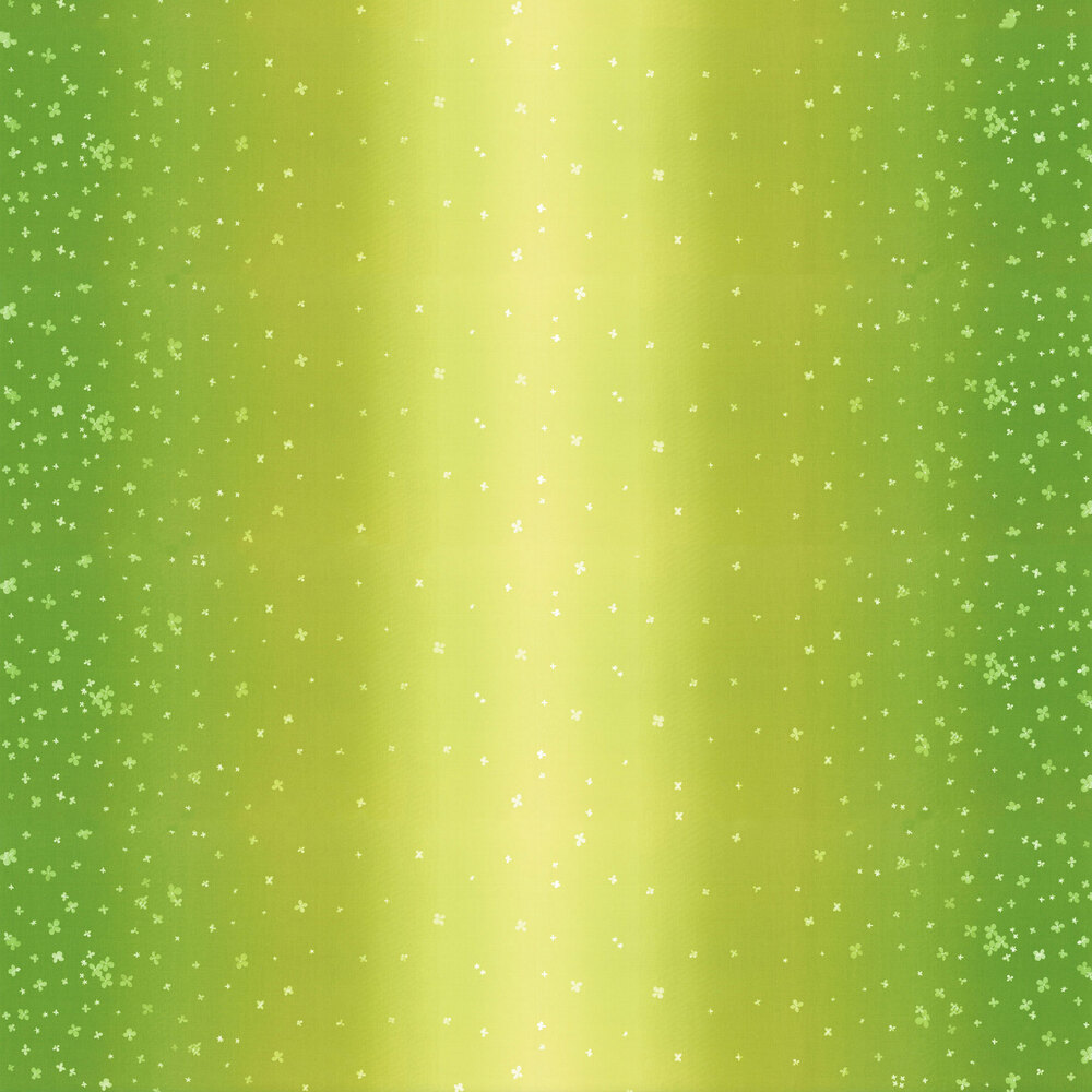 Lime green ombre fabric with small scattered flowers | Shabby Fabrics