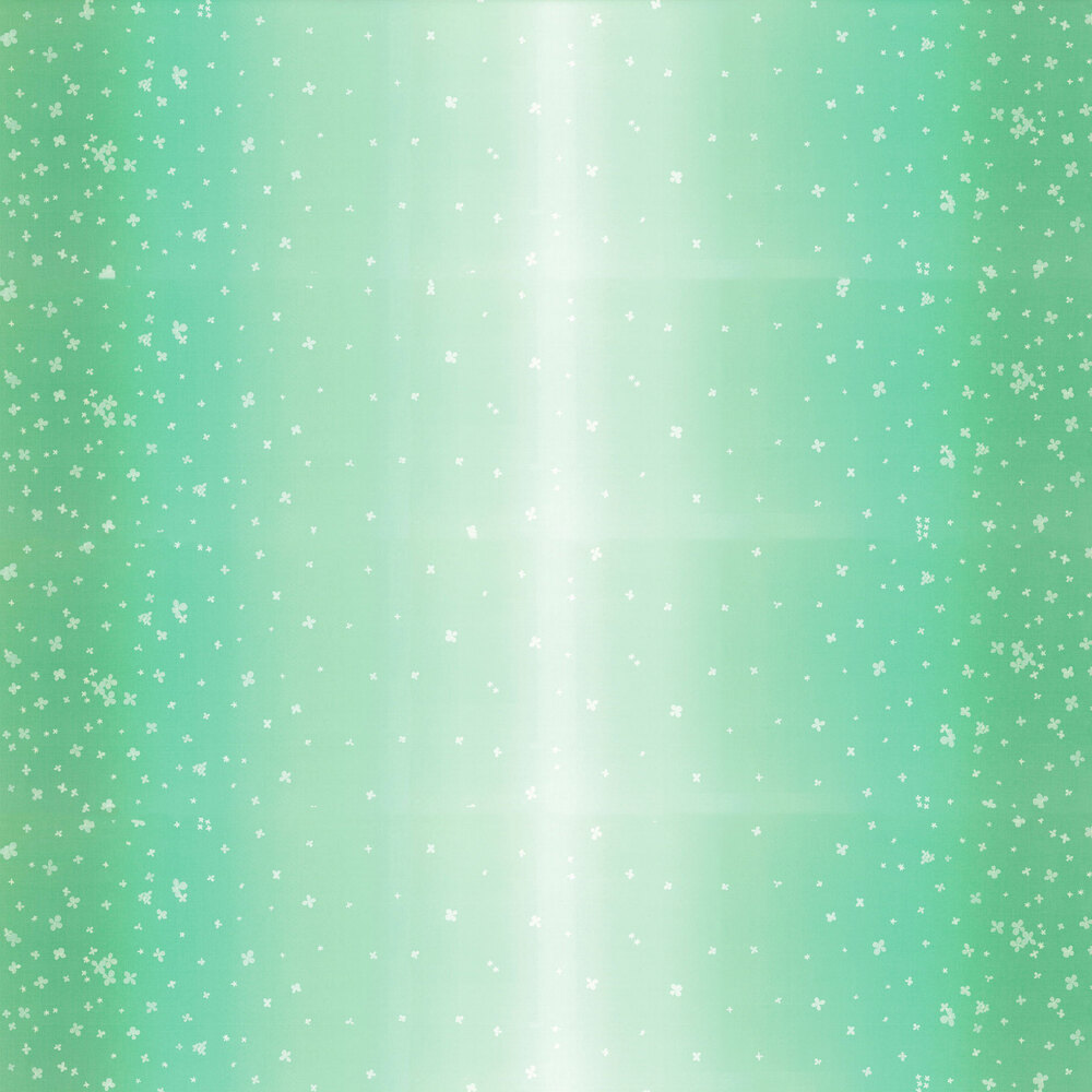 Mint green ombre fabric with small scattered flowers | Shabby Fabrics