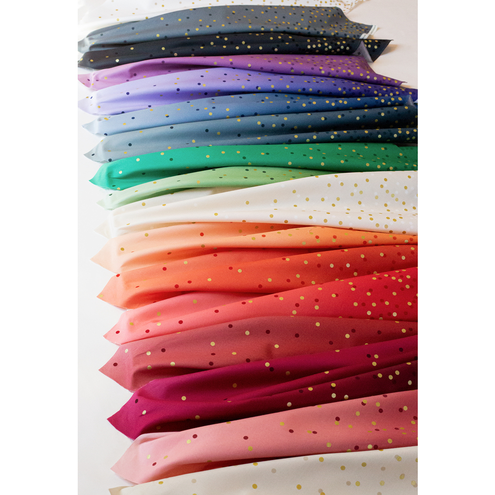 Collage of fabrics included in Ombre Confetti Metallic collection | Shabby Fabrics