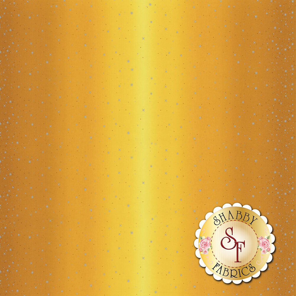 Mustard ombre with metallic stars and starbursts | Shabby Fabrics