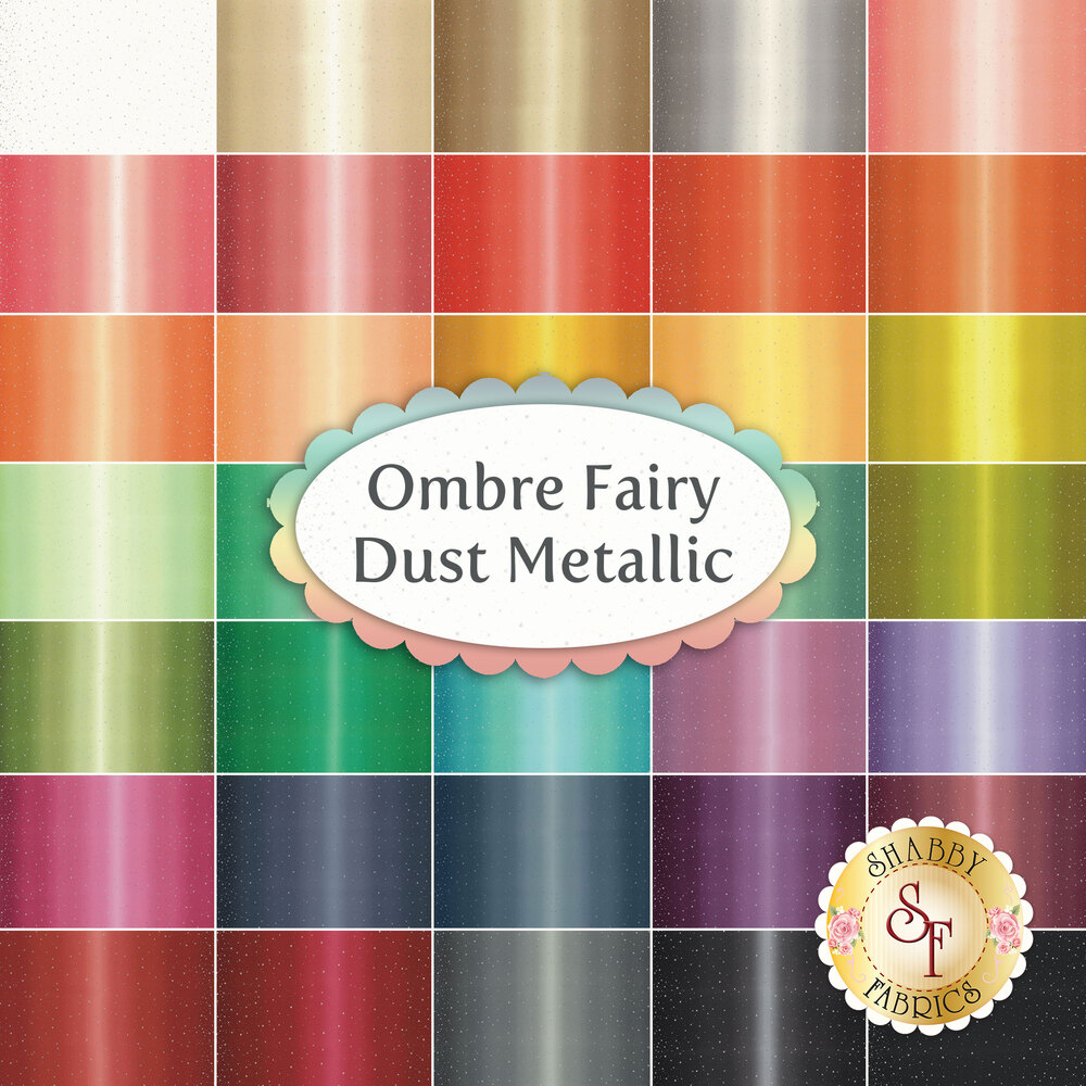 Collage of fabrics included in the Ombre Fairy Dust Metallic colletion | Shabby Fabrics