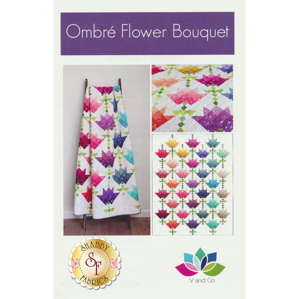 The front of the Ombre Flower Bouquet pattern showing the finished quilt | Shabby Fabrics