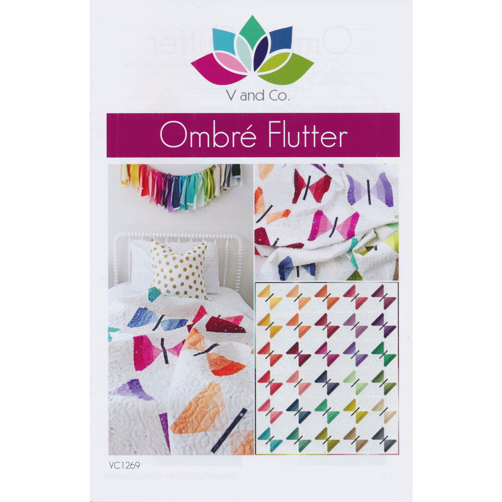 The front of the Ombre Flutter pattern with a collage of the finished quilt