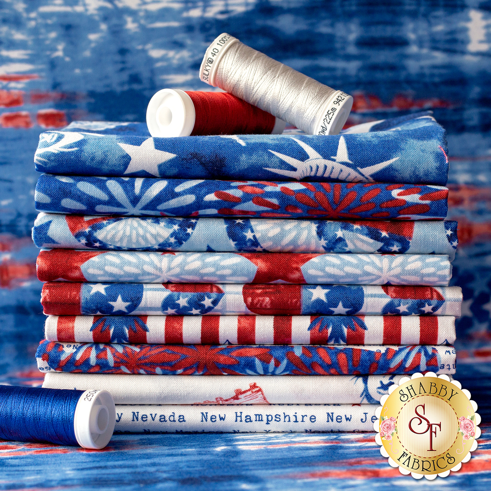 A photo of the fabrics included in the One Land, One Flag collection | Shabby Fabrics