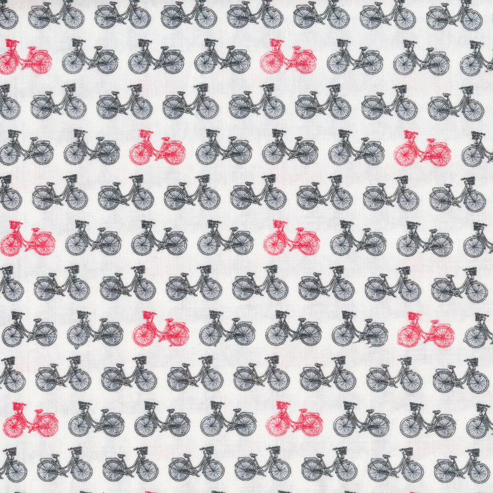 Black bicycles with a few red bicycles | Shabby Fabrics