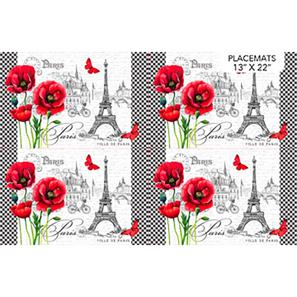 Place mat panel fabric featuring red flowers and black Eiffel Tower on white   Shabby Fabrics