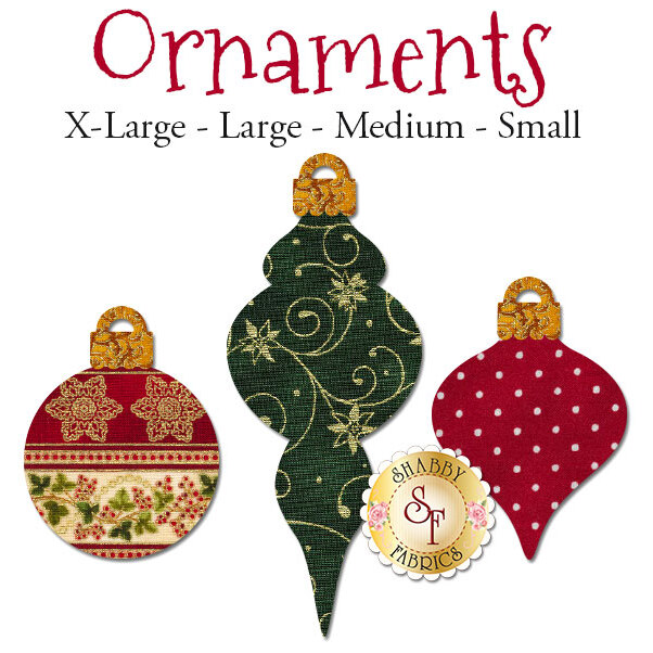 3 Christmas ornament applique shapes in three different styles: round, lamp, and teardrop shaped.