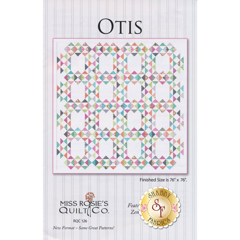 The front of the Otis pattern showing a gorgeous geometric quilt