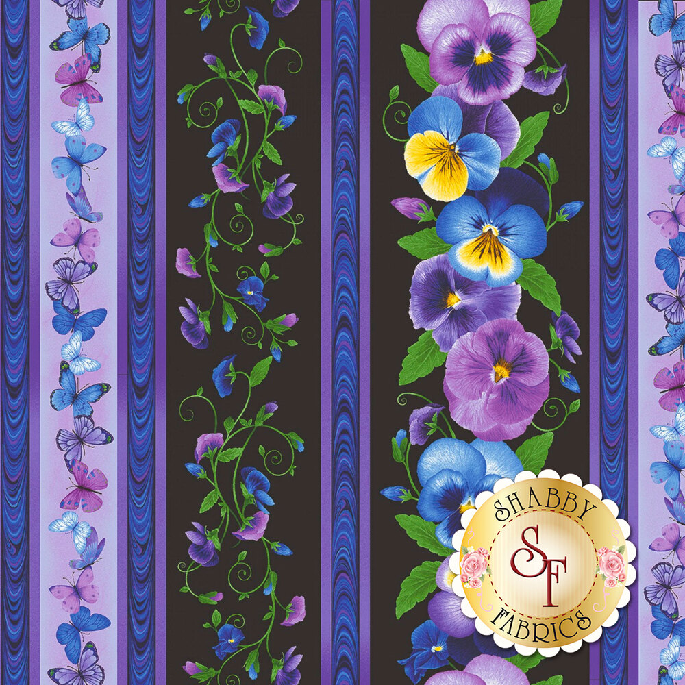 Black and purple stripe fabric with blue, yellow, and purple pansies | Shabby Fabrics