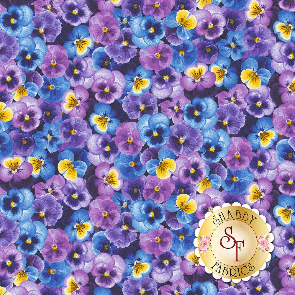 Packed blue, yellow, and purple pansies | Shabby Fabrics