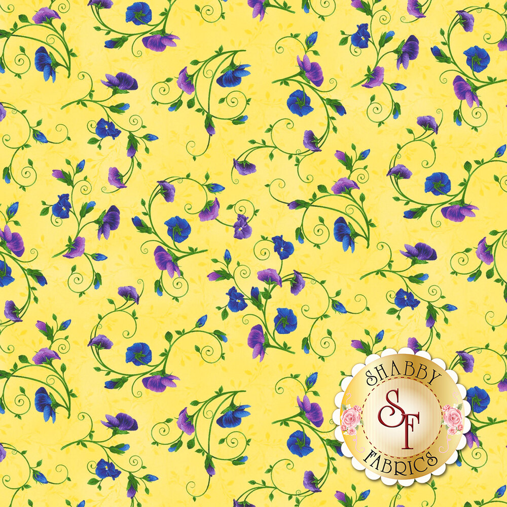 Small blue and purple pansies on vines on yellow | Shabby Fabrics