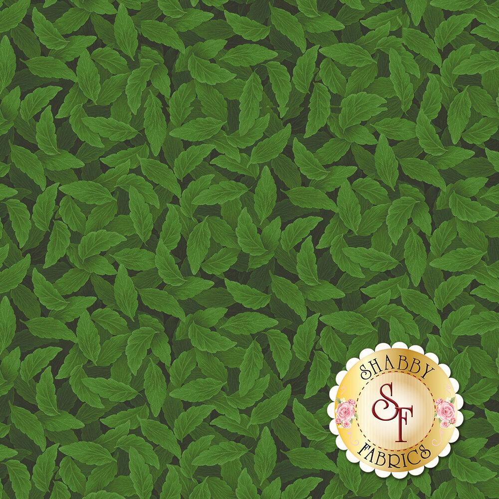 Tonal leaves on green   Shabby Fabrics
