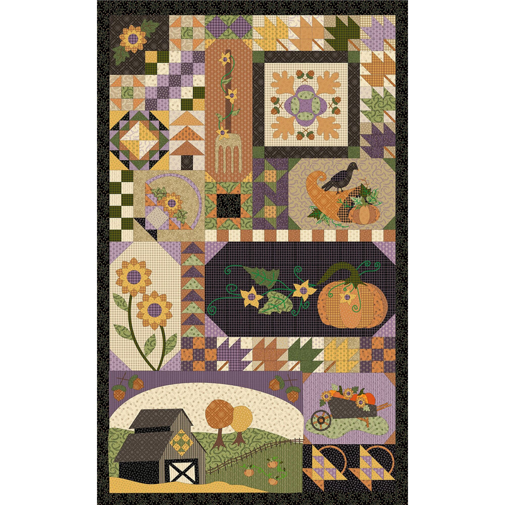 Patchwork panel featuring pumpkins, sunflowers, and cornucopias | Shabby Fabrics