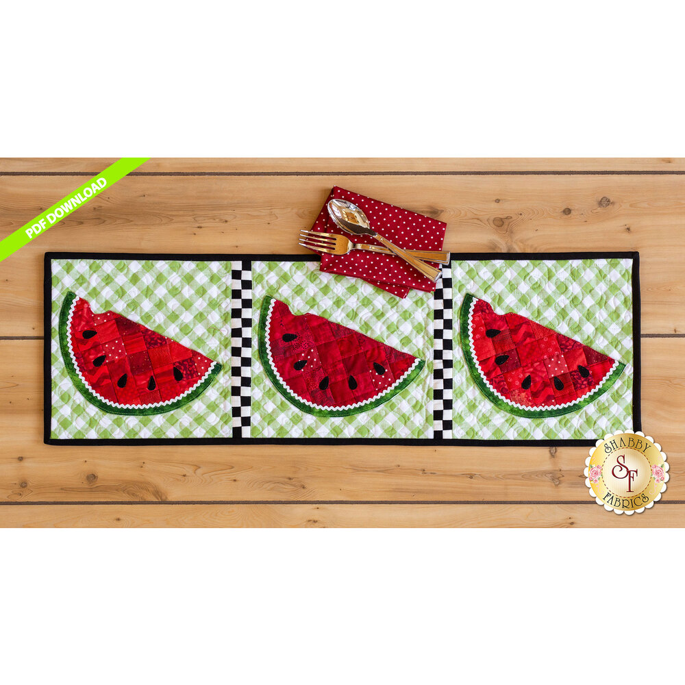Patchwork Accent Runner - Watermelons - July - PDF Download