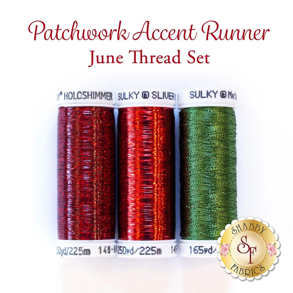 Patchwork Accent Runner - Strawberries - June - 3 pc Thread Set