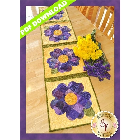 Patchwork Pansy Table Runner - PDF DOWNLOAD
