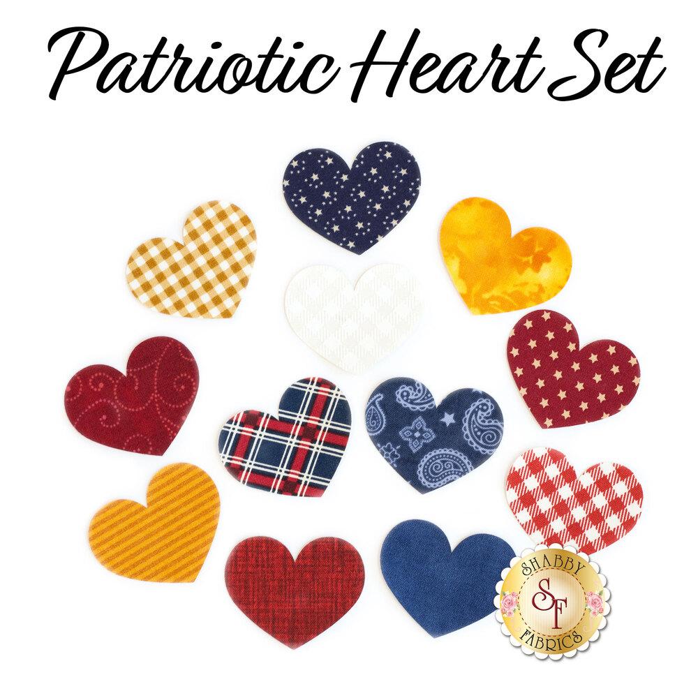 Laser-Cut Small Patriotic Heart Set